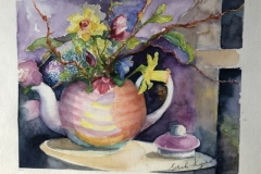 Charity shop teapot and flowers